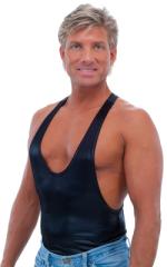 String Tank Gym Tee in M-Tex Wet Look Black nylon/lycra 1