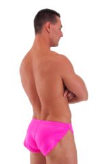 Swimsuit Cover Up Split Running Shorts in Wet Look Hot Pink 3