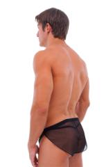 Swimsuit Cover Up Split Running Shorts in  Black Mesh 3