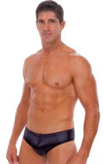 Riviera Swim Suit Brief in Wet Look Black 1
