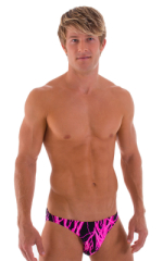 Bikini-Brief Swimsuit in Hot Pink Lightning 1