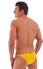 Stuffit Pouch Half Back Tanning Swimsuit in Semi Sheer Sunset Yellow 3