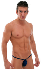Adjustable to Micro Pouch Tanning Bikini in Semi Sheer ThinSKINZ Navy Blue 3