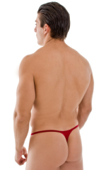 Smooth Pouch Skinny Sides Swim Thong in Semi Sheer ThinSKINZ Lipstick Red 3