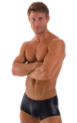 Fitted Pouch - Boxer - Swim Trunks in Wet Look Black 1