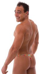 T Back Thong Swimsuit - Bravura Pouch in Neon Dali 2