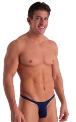 T Back Thong Swimsuit - Bravura Pouch in Semi Sheer ThinSKINZ Navy Blue 1