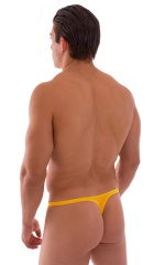 T Back Thong Swimsuit - Bravura Pouch in Semi Sheer Yellow Sunset 3