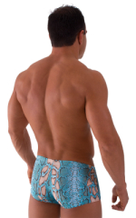 Fitted Pouch - Boxer - Swim Trunks in Aqua Python 3