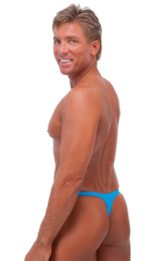 T Back Thong Swimsuit in Wet Look Turquoise 3
