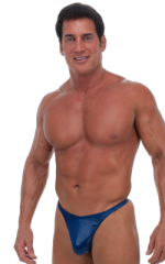 Swimsuit Thong with Pouch Enhancement in Wet Look Navy Blue 1