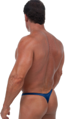 Swimsuit Thong with Pouch Enhancement in Wet Look Navy Blue 3