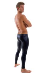 Mens SUPER Low Leggings Tights in Wet Look Black 3
