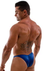 Posing Suit - Fitted Pouch - Puckered Back in Wet Look Navy Blue 1