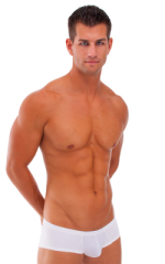 Pouch Enhanced Micro Square Cut Swim Trunks in White and PowerNet White 1