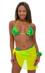 Sarong Wrap Beach Cover Up in Chartreuse Stretch Mesh 3