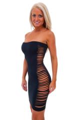 Ming Sexy Slashed Revealing Mini Dress in Black 1
