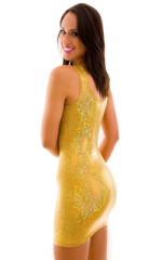 Short Sexy Mini Club Dress in Holographic Shattered Glass Gold-Gold 3