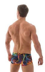 Extreme Low Square Cut Swim Trunks in Tan Through RaveUp 5