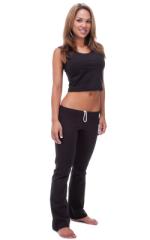 Womens Yoga Pilates Gym Leggings Fashion Tights in Black Cotton-Lycra 1