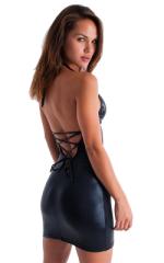 Sexy Lace Up Bodycon Club Mini Dress in Metallic Mystique Black-Black 4