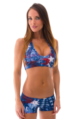 Womens Sport Halter Top in American Flag Collage 1