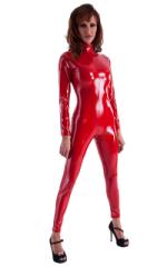 Front Zipper Catsuit-Bodysuit in Red Superstretch Vinyl/Lycra 1