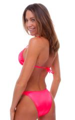 Womens High Cut Brazilian Swim Suit bottom in Brilliant Coral 3