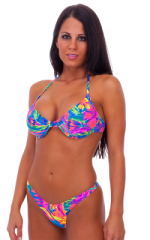 womens sexy halter style underwire push up top in Hawaiian Floral 1