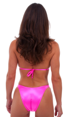 Womens High Cut Brazilian Swim Suit bottom in Wet Look Hot Pink 3