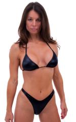 Womens High Cut Brazilian Swim Suit bottom in Wet Look Black 4