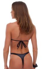 Womens Hooked Swimwear Thong Swimsuit Bottom in Wet Look Black 3