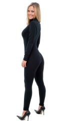 Back Zipper Catsuit-Bodysuit in Black cotton/lycra 3