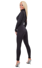 Back Zipper Catsuit-Bodysuit in Black nylon/lycra 3