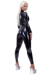 Back Zipper Catsuit-Bodysuit in Superstretch Black Vinyl 3