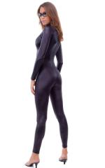 Back Zipper Catsuit-Bodysuit in Wet Look Black 3