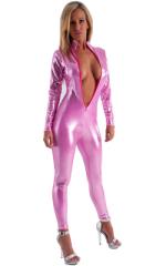 Front Zipper Catsuit-Bodysuit in Metallic Mystique Bubblegum Pink 3