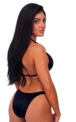 Womens Posing Suit Bodybuilder Contest Bikini Bottom in Wet Look Black 3