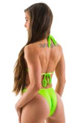 High Cut - Half Back - Scrunchie Swimsuit Bottom in Neon Lime 3