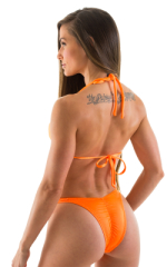 Womens Posing Suit - High Cut - Half Back - Scrunchie in Neon Orange Rio Cut 3