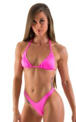 High Cut - Half Back - Scrunchie Swimsuit Bottom in Neon Pink 1