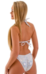 High Cut Brazilian Scrunchie Posing Suit Bottom in Holographic Shattered Glass White-Silver 3