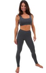 Womens Leggings - Fashion Tights in Dark Heather Grey cotton/lycra 1