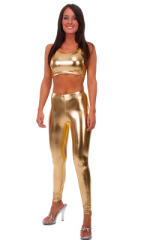 Crop Tank Top in Liquid Gold Metallic lycra 1