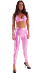 Womens Leggings - Fashion Tights in Metallic Mystique Bubblegum Pink 4