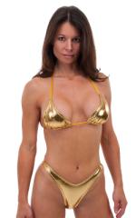 Womens Posing Suit Bodybuilder Contest Bikini Bottom in Liquid Gold 1