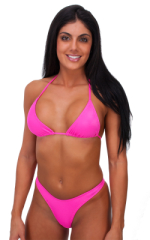 Womens Posing Suit Narrow Back in Wet Neon Pink 1