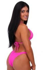 Womens Posing Suit Narrow Back in Wet Neon Pink 3