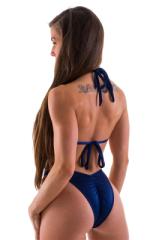 High Cut Scrunch Brazilian Bikini Bottom in Navy Blue Swimsuit Bottom 3