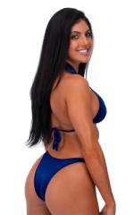 Womens Posing Suit Narrow Back in Wet Look Navy Blue 3